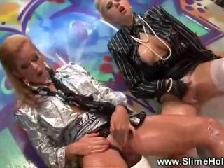 Naughty Blondes Getting Voluptuous In The Bukkake Room