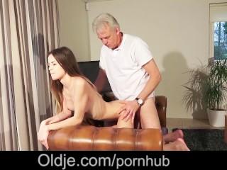 Grandpa Pussy Nailing Teen Pierced Tongue Facial Cum Shot