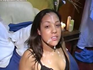 Ebony Lady Taking Some Creamy Facials In A Bukkake Party